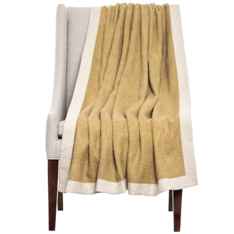 "India's Heritage Bordered Throw Blanket - 50x70"" in Gold"
