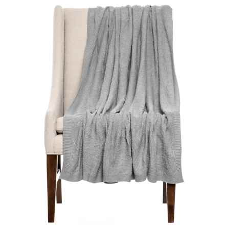 """India's Heritage Cotton Damask Throw Blanket - 50x70"""" in Grey - Closeouts"""