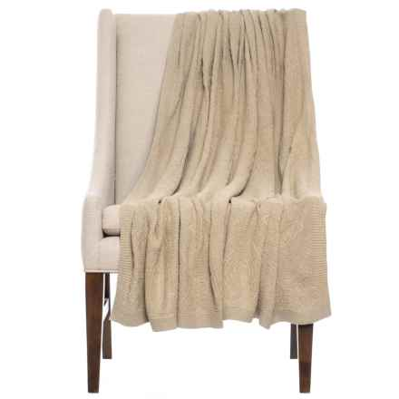 """India's Heritage Cotton Damask Throw Blanket - 50x70"""" in Taupe - Closeouts"""