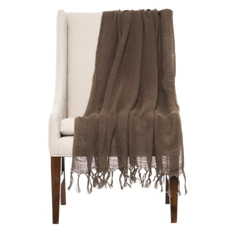 "India's Heritage Linen Throw Blanket - 50x70"" in Chocolate"