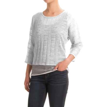 Indigenous Lace Sweater - Organic Cotton, 3/4 Sleeve (For Women) in White - Closeouts