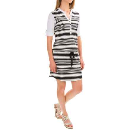 Indigenous Luxe Drawstring-Waist Dress - Organic Cotton, Short Sleeve (For Women) in White Mix - Closeouts