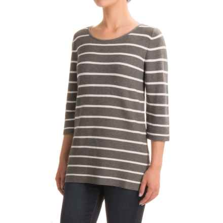 Indigenous Nautical-Stripe Sweater - Organic Cotton, Elbow Sleeve (For Women) in Ash/White - Closeouts