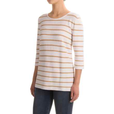 Indigenous Nautical-Stripe Sweater - Organic Cotton, Elbow Sleeve (For Women) in White/Honey - Closeouts