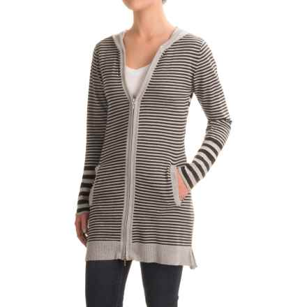 Indigenous Novelty Cardigan Sweater - Organic Cotton, Hooded (For Women) in Silver/Noir - Closeouts