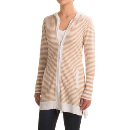 Indigenous Novelty Cardigan Sweater - Organic Cotton, Hooded (For Women) in White/Honey - Closeouts