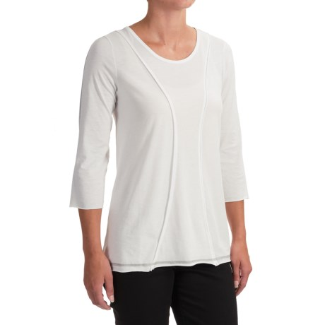 Indigenous Organic Cotton A-Line Shirt - 3/4 Sleeve (For Women) in White