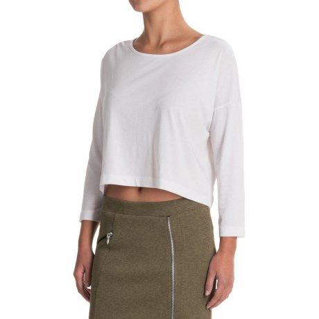 Indigenous Organic Cotton Boxy Crop Top Shirt - Scoop Neck, Elbow Sleeve (For Women)
