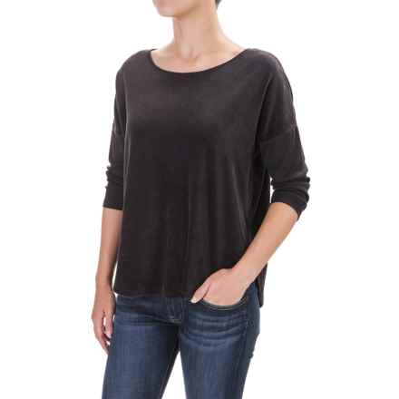 Indigenous Plush Velour Shirt - Organic Cotton, 3/4 Sleeve (For Women) in Black - Closeouts