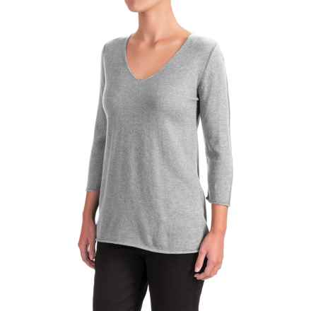 Indigenous Pointelle Sweater - Organic Cotton, 3/4 Sleeve (For Women) in Silver - Closeouts