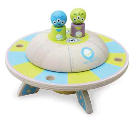 indigo Jamm Flo the UFO Wood Toy in Aqua/Green - Closeouts