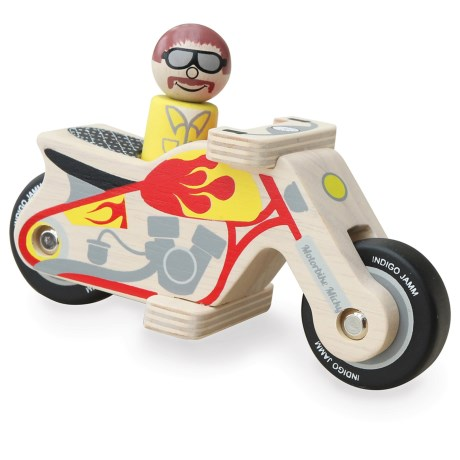 indigo Jamm Motorbike Micky Wood Toy in Red/Yellow