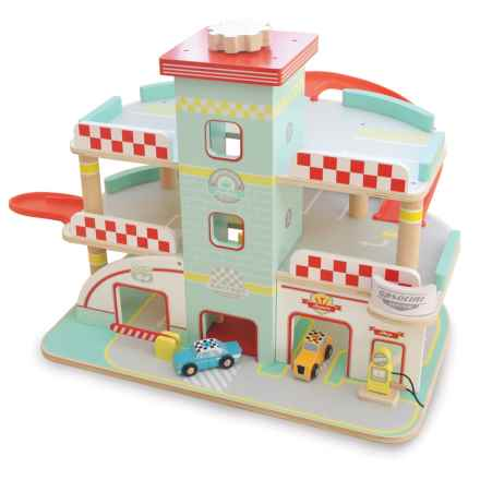 indigo Jamm Raceway Garage Wood Toy in Aqua/Red - Closeouts