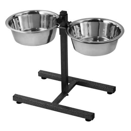 IndiPets Adjustable Elevated Dog Feeder in Metal - Closeouts