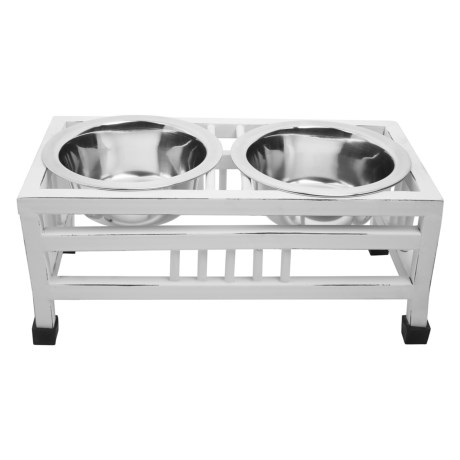 IndiPets Antique Finish Elevated Dog Feeder in White