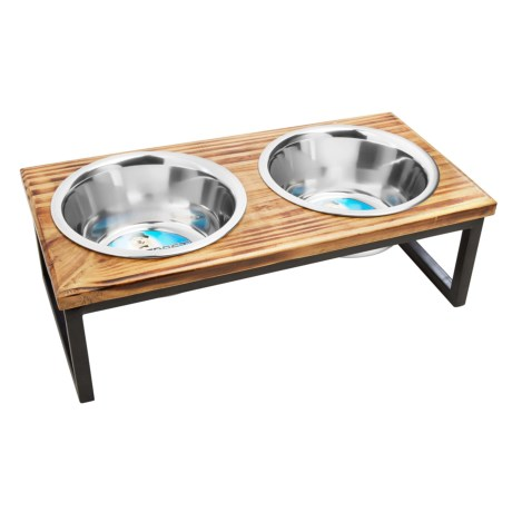 IndiPets Contemporary Wood Elevated Dog Feeder in Wooden