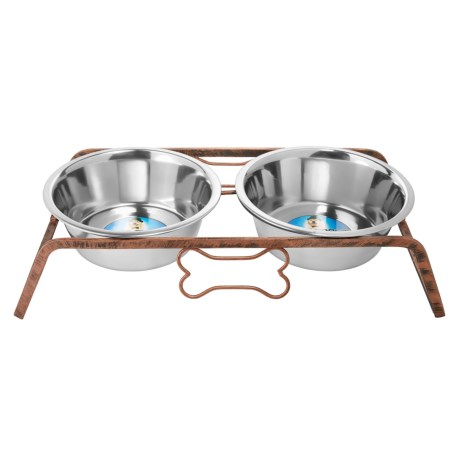 IndiPets Rustic Elevated Dog Feeder in Iron