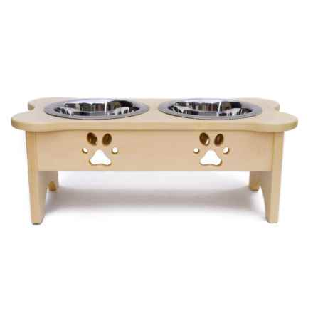IndiPets Wood High Elevated Dog Feeder in Natural Wood - Closeouts