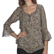 Indira Animal Print Chiffon Shirt - 3/4 Bell Sleeve (For Women) in Black Animal Print - Closeouts