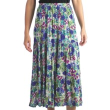 Indira Broomstick Skirt - Crinkled Rayon (For Women) in Blue/Purple Floral Print - Closeouts