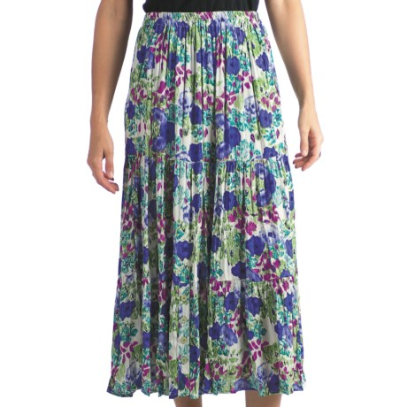 Indira Broomstick Skirt - Crinkled Rayon (For Women) in Blue/Purple Floral Print
