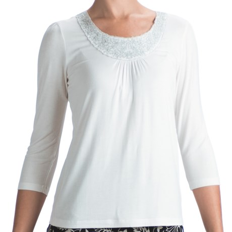 Indira Embellished Jersey Shirt - 3/4 Sleeve (For Women) in White