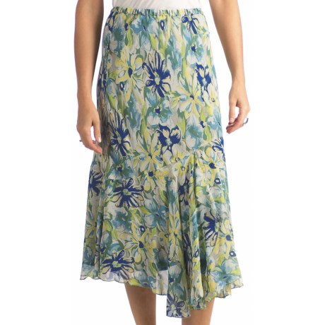 Indira Faux Wrap Rayon Skirt (For Women) in Blue Floral