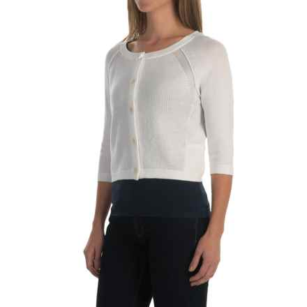 Inhabit Crop Cardigan Sweater - 3/4 Sleeve (For Women) in White - Closeouts