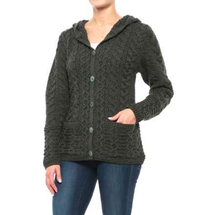 Inis Craft Two-Pocket Wool Hoodie - Merino Wool (For Women) in Army Green - Closeouts