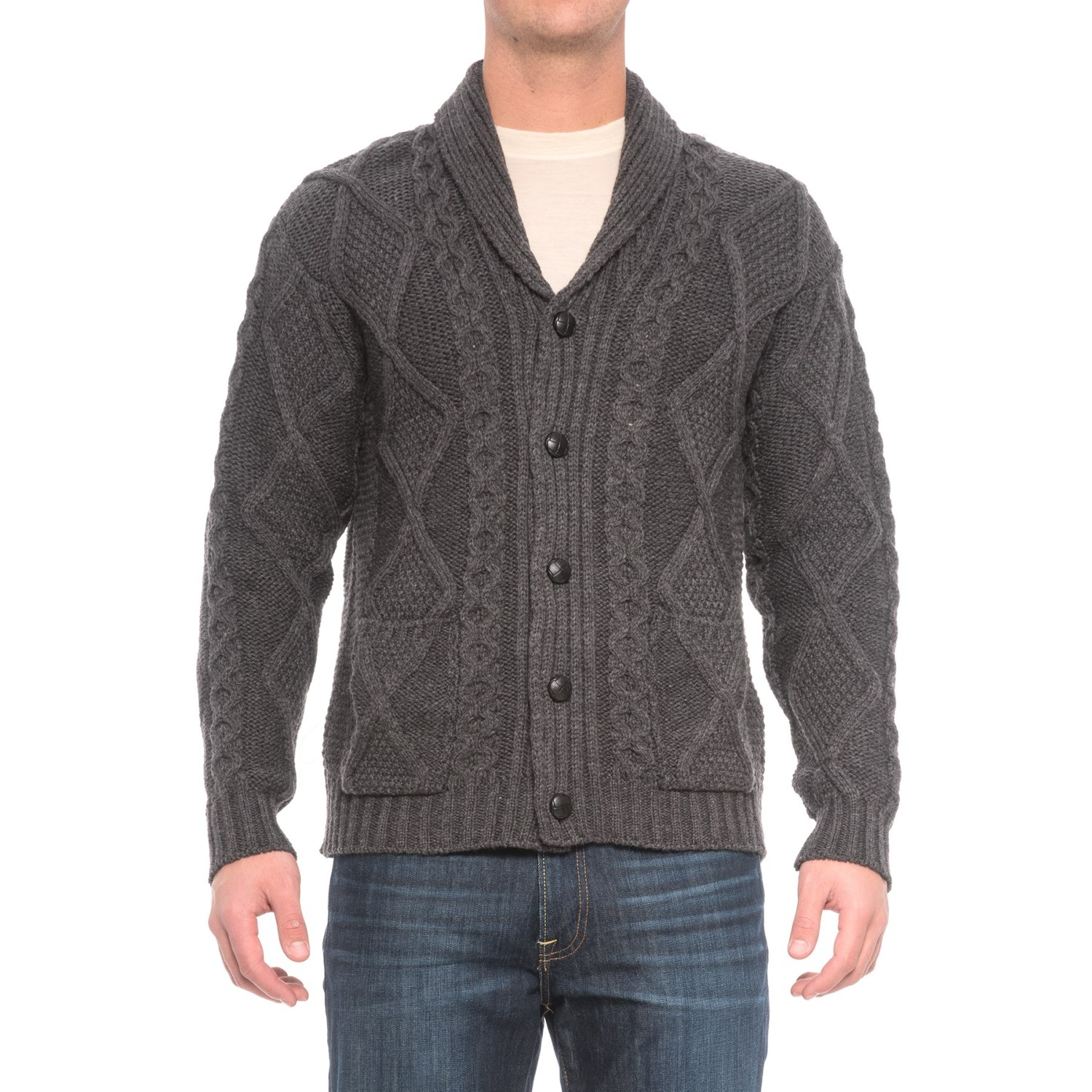 Inis Crafts Aran Pattern Button Shawl Cardigan Sweater (For Men ...