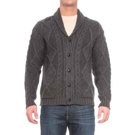 Inis Crafts Aran Pattern Button Shawl Cardigan Sweater - Merino Wool (For Men) in Charcoal - Closeouts
