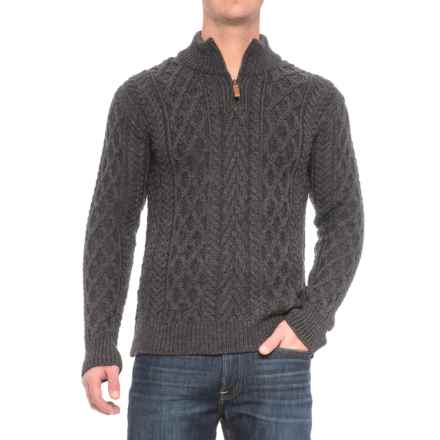 Inis Crafts Aran Sweater - Merino Wool (For Men) in Charcoal - Closeouts