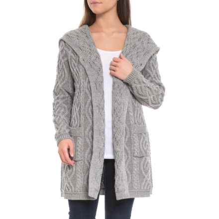 Inis Crafts Made in Ireland Asymmetrical Long Hooded Cardigan Sweater - Merino Wool (For Women) in Soft Grey - Closeouts