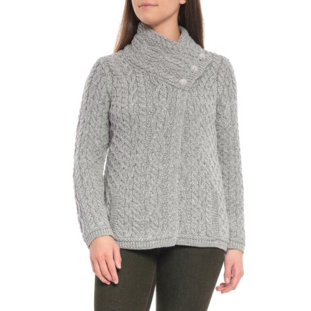 96f66b0d21c3a Inis Crafts Made in Ireland Three-Button Asymmetrical Cardigan Sweater -  Merino Wool (For