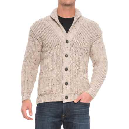 Inis Crafts Ribbed Shawl Cardigan Sweater - Merino Wool (For Men) in Oatmeal - Closeouts