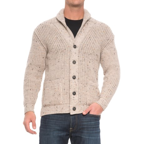 Inis Crafts Ribbed Shawl Cardigan Sweater - Merino Wool (For Men)