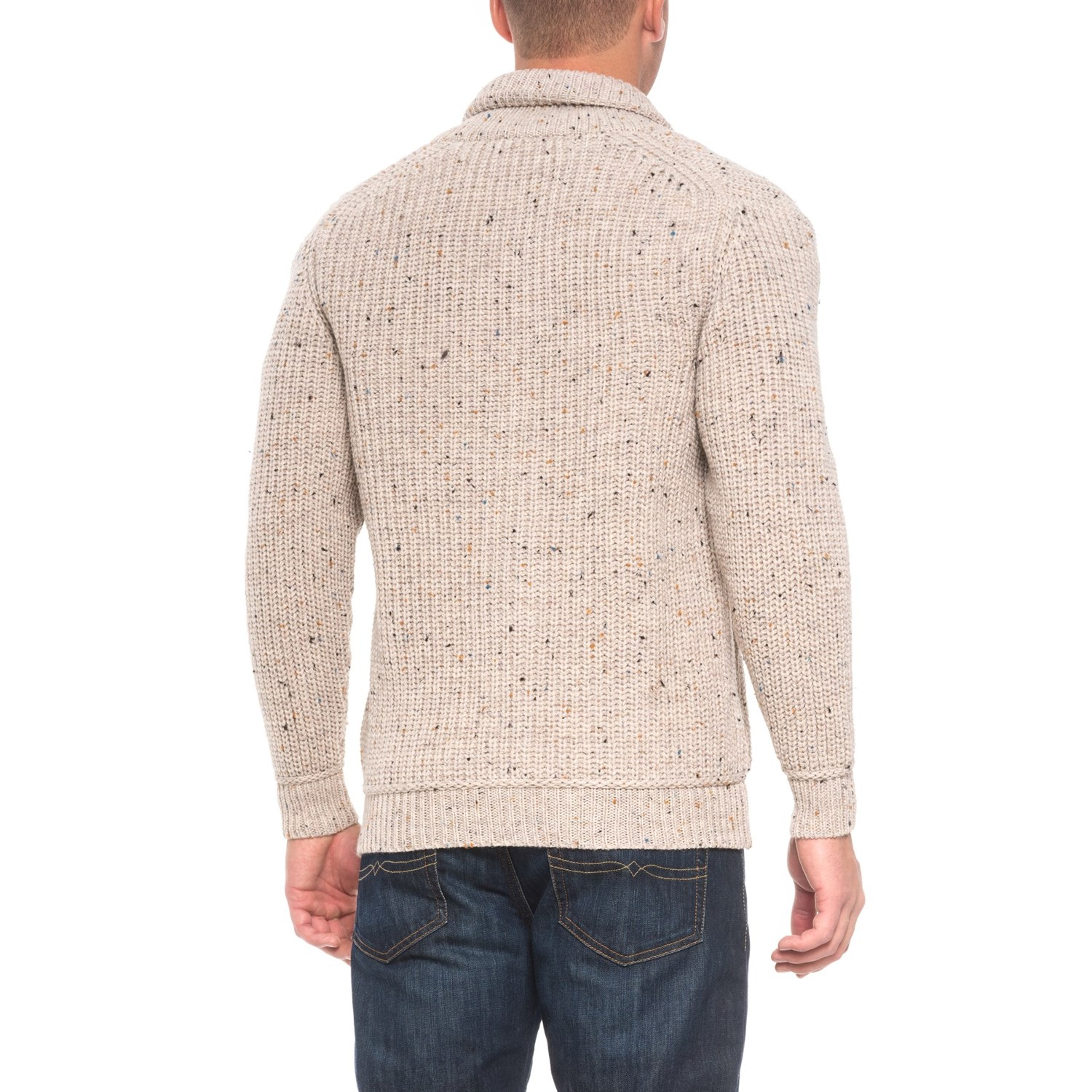 Inis Crafts Ribbed Shawl Cardigan Sweater (For Men) - Save 42%