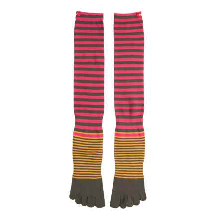Injinji Sport Original Weight Toe Socks - Over the Calf (For Men and Women) in Olive Torrey Bright Orange - Closeouts