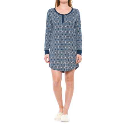 Ink+Ivy Henley Nightshirt - Long Sleeve (For Women) in Blue - Closeouts