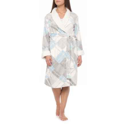 Ink+Ivy Plush Microlight Robe (For Women) in Bias Plaid Dusty Blue - Closeouts