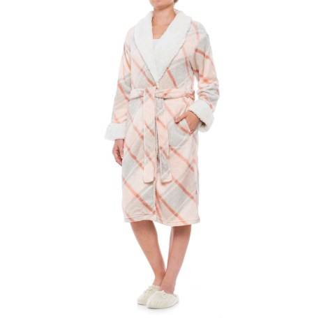 Ink+Ivy Plush Plaid Robe - Long Sleeve (For Women) in Bias Peach 1ffc2210b