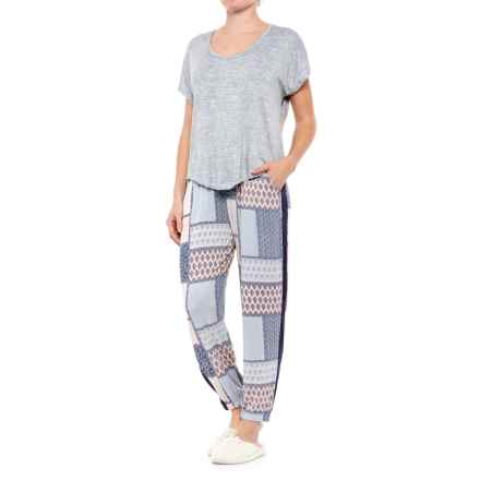 Ink+Ivy Printed Oversized Pajamas - Short Sleeve (For Women) in Patchwork/Grey - Closeouts