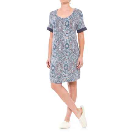 Ink+Ivy Printed Sleep Shirt - Short Sleeve (For Women) in Paisley Blue - Closeouts