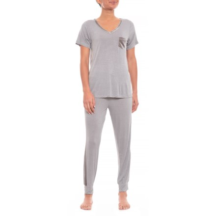 247d8f388cb3c7 Ink+Ivy Rayon Spandex Jogger Set with Velvet Trim (For Women) in Neat