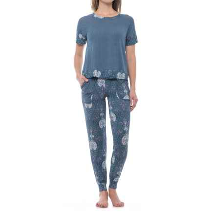 Ink+Ivy Shirt and Pocket Joggers Pajamas - Short Sleeve (For Women) in Bohemian Nights - Closeouts
