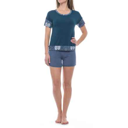 Ink+Ivy Shirt and Shorts Pajamas - Short Sleeve (For Women) in Navy Neat - Closeouts