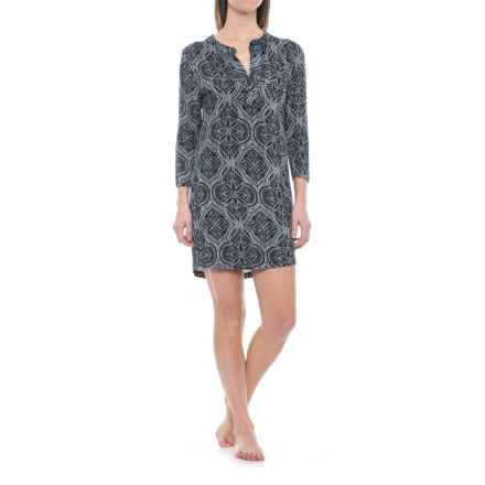 Ink+Ivy Split-Front Sleep Shirt - 3/4 Sleeve (For Women) in Heritage Lace - Closeouts