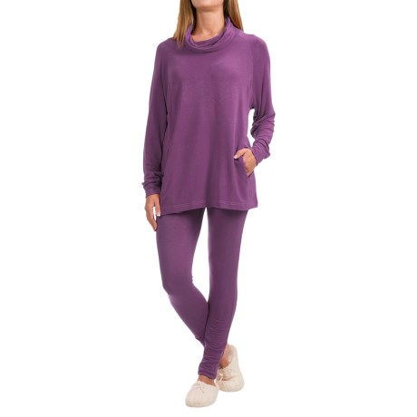 Ink+Ivy Terry Cowl Neck Shirt and Leggings Set - 2-Piece, Long Sleeve (For Women) in Plum