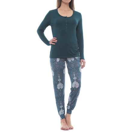 Ink+Ivy Twin Pocket Joggers and Shirt Pajamas - Long Sleeve (For Women) in Bohemian Nights - Closeouts
