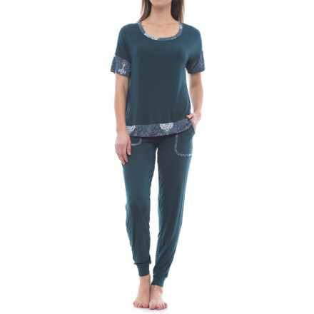 Ink+Ivy Twin Pocket Joggers and Shirt Pajamas - Short Sleeve (For Women) in Legion Blue - Closeouts
